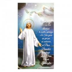 Benedizione della famiglia Gesù fondo stellato oro 12x22 cm