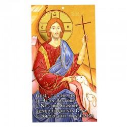Benedizione della famiglia Cristo Buon Pastore oro 12x22 cm