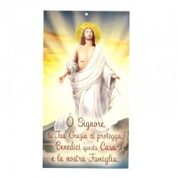 Benedizione della famiglia Gesù Risorto oro 12x22 cm