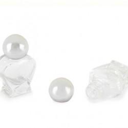 Transparent Glass Heart Shaped Bottle Silvery Stopper