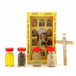 Confezione Bethlehem con Croce, Acqua, Incenso, Terra e Olio Santo
