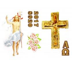 Adesivo per cero Pasquale con Gesù Risorto, Croce e rose