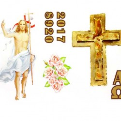 Paschal Candle Adhesive Risen Jesus Cross Roses