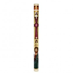 Beeswax Paschal Candle Hand painted Good Shepherd 8x120 cm
