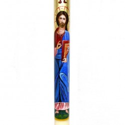 Beeswax Paschal Candle Hand painted Guiding Jesus 8x120 cm