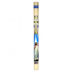 Beeswax Paschal Candle Hand painted Risen Jesus 8x120 cm