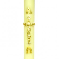 Beeswax Paschal Candle Relief Cross Flowers 8x120 cm
