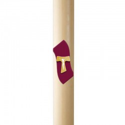 Paschal candle in wax with Tau Cross in relief 8x120 cm