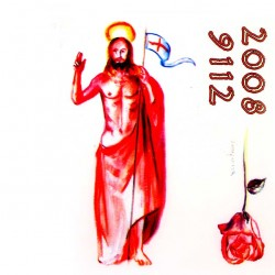 Paschal Candle Adhesive Risen Jesus with Cross
