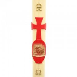 Cero Pasquale in cera Agnello rosso in rilievo 8x120 cm