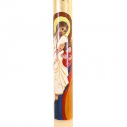 Paschal candle PAINTED welcoming Jesus 8 x 120 cm