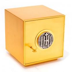 Tabernacolo da mensa ottone dorato IHS 25x25x25 cm