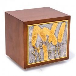 Tabernacolo in legno con porticina in fusione bicolore 28x29x25 cm