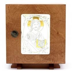 Tabernacolo da mensa in legno Gesù Maestro 21x23x21 cm