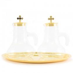 Servizio di Ampolline piatto ovale dorato 23x14 cm