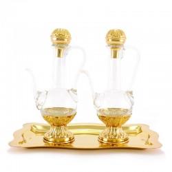 Servizio ampolline dorato in argento 800°° piatto 13x22 cm