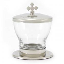 Vasetto in vetro e metallo olio catecumeni 9,5 cm