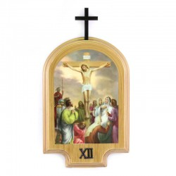 Via Crucis cupola legno dorato 13,5x20,5 cm