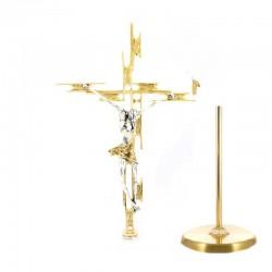 Croce astile stilizzata ottone dorato 220 cm