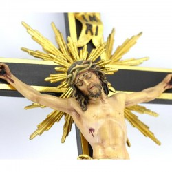 Wood and Gold foil Baroque Crucifix 40x85 cm