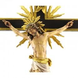 Wood and Gold foil Baroque Crucifix 88x228 cm