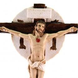 Colored Resin Crucifix Merciful Love 27 cm