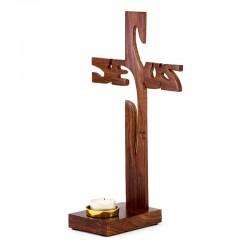 Jesus Cross in olive wood 31 cm