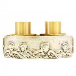 Candeliere ottone 2 fiamme testine Angeli 18x9,5 cm