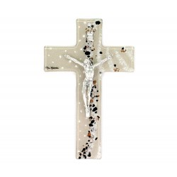 Crocifisso vetro di Murano modello laguna blu 16x25 cm