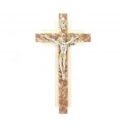 Crocifisso vetro di Murano croce doppia 14x26 cm