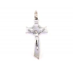 Crocifisso San Benedetto moderno in metallo 3 cm