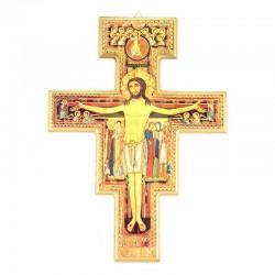 Crocifisso San Damiano in legno a foglia oro 30x40 cm