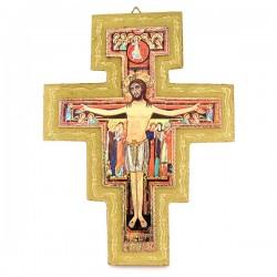 Crocifisso dI San Damiano in legno dorato 18x23 cm
