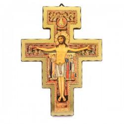 Crocifisso di San Damiano in legno dorato 32x42 cm