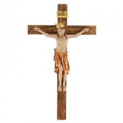 Crocifisso Romanico con corona legno 32x58 cm