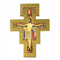 Crocifisso di San Damiano legno massello dorato 22,5x30 cm