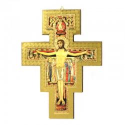 Crocifisso di San Damiano legno massello dorato 18x24 cm