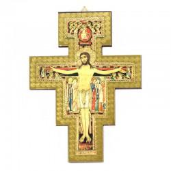 Crocifisso di San Damiano legno massello dorato 13,5x18 cm