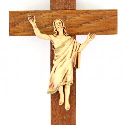 Risen Jesus on wooden Cross 13x21 cm