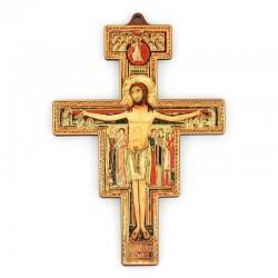 Crocifisso San Damiano foglia oro 12x17 cm