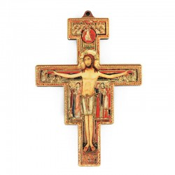 Crocifisso San Damiano foglia oro 6x8,5 cm