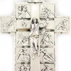 Via Crucis Crucifix in shaped metal 28 cm