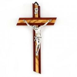 Modern crucifix in olive wood and paduk 12x21 cm