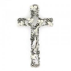 Crucifix vine leaves in silver metal 13,5x23,5 cm