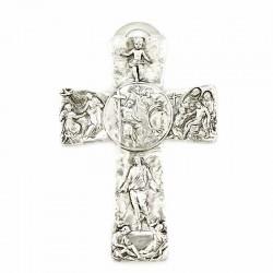 Metal Cross with Jesus life scenes - Baptism of Jesus 11x16 cm