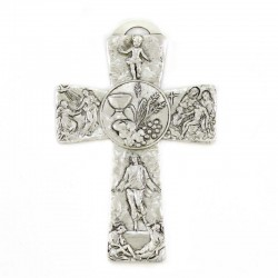 Metal Cross with Jesus life scenes - Chalice and ears 11x16 cm