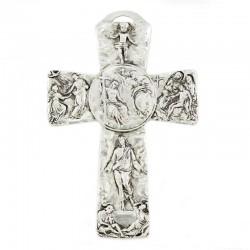 Metal Cross with Jesus life scenes - Baptism of Jesus  8,5x13 cm