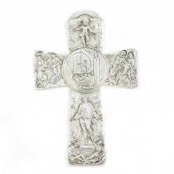 Metal Cross with Jesus life scenes - Candle and IHS symbol 8,5x13 cm