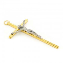 Two tone metal crucifix with hammered cross 5,5x11 cm