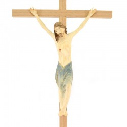 Modern painted wood crucifix 22x47 cm